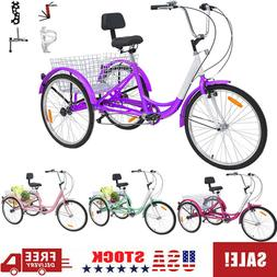 26'' 3-wheeled Adult Tricycles 7 Speed Cruise Trike+Basket f