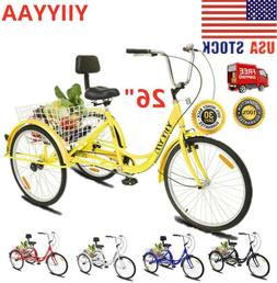 "26""Adult 3-Wheel Tricycle Trike Cruise Bike Bicycle W/Basket"