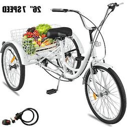 26 Adult Tricycle 3-Wheel 7 Speed Tricycle Comfortable W/ Lo