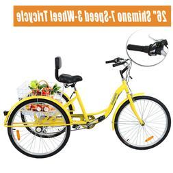 Ridgeyard 26 Adult Tricycle 3-Wheel Low Step 7 Speed Bicycle