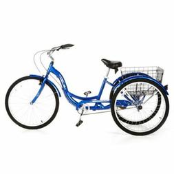 26 Inch Adult Tricycle, Blue Single Speed, Adjustable Seat-H