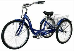 "Schwinn 26"" Meririan Single Speed Tricycle with Basket-Navy"