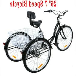 "Ridgeyard 26"" Shimano 7-Speed Adult Tricycle Trike Bicycle C"
