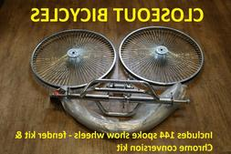"26"" TRICYCLE CONVERSION KIT/FENDERS/WHEELS CHROME HOLLOW HUB"