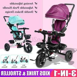 3-in-1 Baby Tricycle Kid Trike Stroller with Adjustable Push