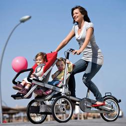 3 IN 1Tricycle Mother Baby Stroller Bike Folding Carrier twi