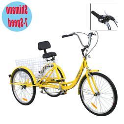 "3-Wheel 24"" Adult Tricycle Trike Bicycle Cruise 7-Speed W/ B"