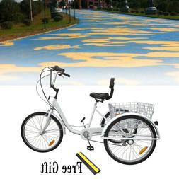 """3-Wheel 24"""" Tricycle Trike Adult Bike Bicycle Cruise 7-Speed"""