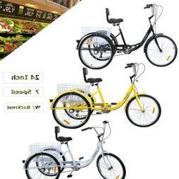 "3-Wheel 6-Speed 24"" Adult Tricycle Bicycle Trike Cruise + He"