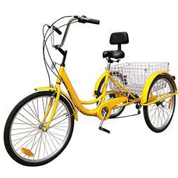 "Ridgeyard 24"" 6 Speed 3 Wheel Adult Cycling Pedal Tricycle B"