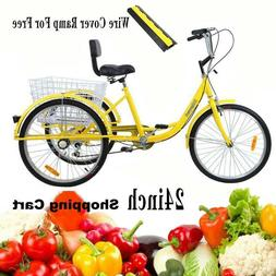 "6-Speed 24"" 3-Wheel Adult Tricycle Bicycle Trike Cruise Bike"