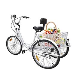 Ridgeyard 6 Speed 24 Inch 3 Wheel Adult Tricycle Bike Cyclin