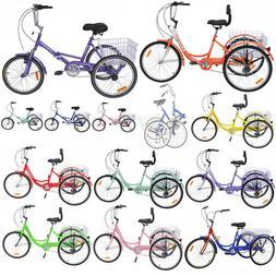 """3-Wheels Trike 24"""" Adult Tricycle 1-Speed Shimano Basket Blu"""