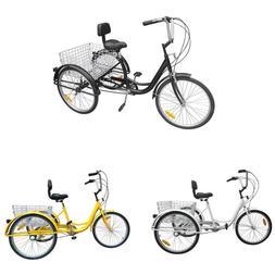 """3-Wheels Trike 24"""" Adult Tricycle 6-Speed Shimano Trike Beac"""