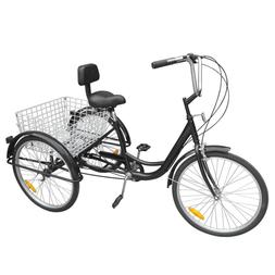 "3-Wheels Trike 24"" Adult Tricycle 6-Speed Shimano Men's/wome"
