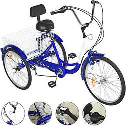 """3-Wheels Trike 24"""" Adult Tricycle 7-Speed Shimano Men's/wome"""
