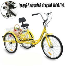 """Ridgeyard 3-Wheels Trike 24"""" Adult Tricycle 7-Speed Shimano"""