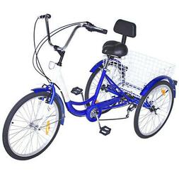 "3-Wheels Trike 24"" Adult Tricycle 7-Speed Shimano Men's/wome"