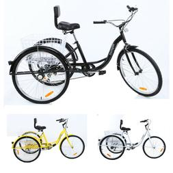 """3Color 26"""" 7-Speed 3-Wheel Tricycle Trike Bicycle Cruise Bas"""