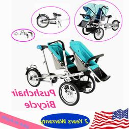 """3in1 16"""" Folding Bicycle Tricycles Double Seats Stroller Twi"""