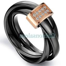 3mm Black Ceramic Rope w/ Rose Gold Loop Tricyclic Women's E