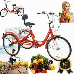 """3Wheels Trike 24"""" Tricycle 7Speed Adult Bicycle+Basket Good"""
