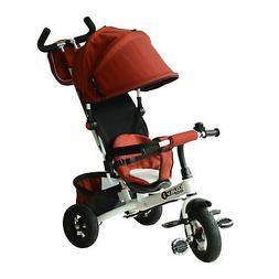 4-in-1 Baby Tricycle & Stroller Kids Trike w/ Pushbar & Cano