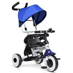 4-in-1 Foldable Baby Single Stroller Tricycle With Seat Belt