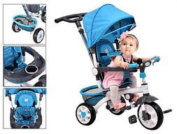 4-in-1 Kids Smart Trike Tricycle Baby Stroller Parent Hand S