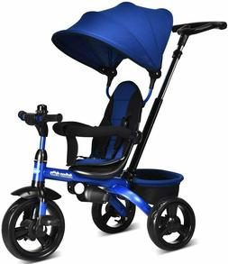 4 in 1 Kids Tricycle Stroll Trike Adjustable Push Handle Can