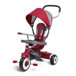 Radio Flyer 4-in-1 Stroll N Trike, Red Grow with Me Sturdy S