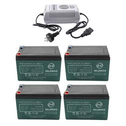 4Pack 12v 12Ah 6DZM12 Lead Acid Battery + Charger for Tricyc