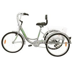 """5Color 7/1 Speed Adult 24""""3Wheel Tricycle Trike Bicycle Bike"""