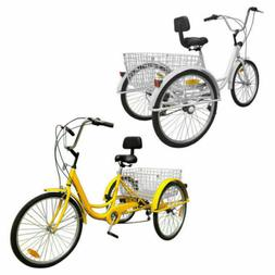 "7-Speed 24"" Adult 3-Wheel Tricycle Bicycle Cruise Bike W/ Ba"