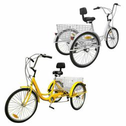 "7-Speed 24"" Adult 3-Wheel Tricycle Bicycle Cruise Bike W/ Ba"