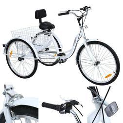 """6-Speed 24"""" 3-Wheel Adult Tricycle Bicycle Trike Cruise Bike"""