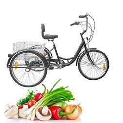 Iglobalbuy Black 6 SpeedThree Wheel Adult Tricycle Trike 2