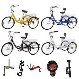 """7/1 Speed Adult 24"""" 3-Wheel Tricycle Trike Bicycle Bike Crui"""