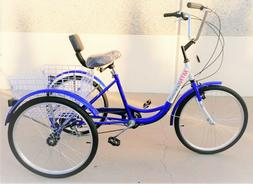 "7 Speed 24"" 3-Wheel Adult Tricycle Gearsmith Blue. SHIMANO c"