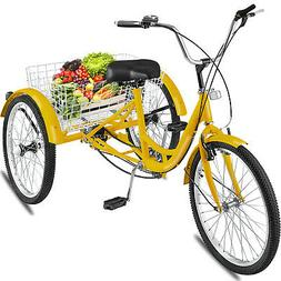 24'' 3 Wheel Adult Tricycle Basket Trike Cruise 300LBS 7 spe