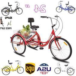 """7-Speed 24"""" Adult 3-Wheel Tricycle Trike Cruise Bike Bicycle"""