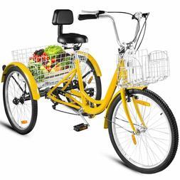"""7--Speed Adult 20""""/26"""" 3-Wheel Tricycle Trike Bike Bicycle C"""