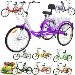 """7-Speed Adult 24"""" 3-Wheel Tricycle Trike Bicycle Basket Shop"""