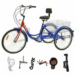 """7 Speed Adult Tricycle Bike 26"""" 3 Wheel Bicycle Basket Beach"""