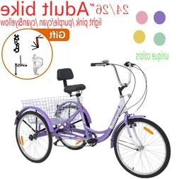 "7Speed Adult Tricycle 24/26""Trike Bike 3Wheel Bicycle &Folde"