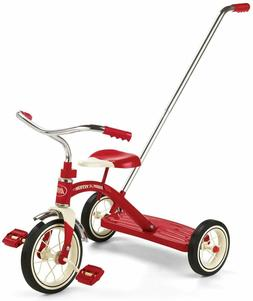 classic red tricycle w push handle model