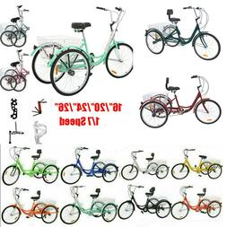 """Adult 16/20/24/26"""" 1/7Speed 20 folding 3Wheel Tricycle Bicyc"""