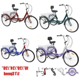 """Adult 20"""" folding 16/20/24/26"""" 1/7Speed 3-Wheel Tricycle Bic"""