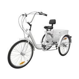 """24"""" 3-Wheel Adult Tricycle Bicycle 7-Speed Trike Cruise Bike"""