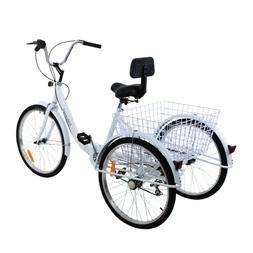 """Adult 24"""" 3-Wheel Trike Bicycle Shimano 7-Speed Tricycle Cru"""
